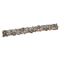 1920s Bracelet with  Diamonds, and Emeralds