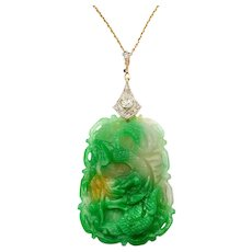 Jade Diamond and Gold Pendant