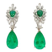 Pair of Emerald Gemstone Diamond Gold Dangle Earrings