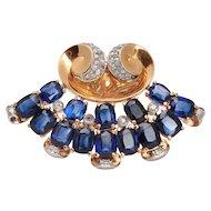 1940s Sapphire Diamond Gold Platinum Brooch