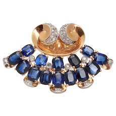 1940s Exceptionally Sapphire and Diamond  Brooch