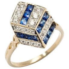 Unusual Sapphire Diamond Gold Geometric Design Ring