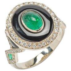 Onyx Emerald Diamond Gold Ring