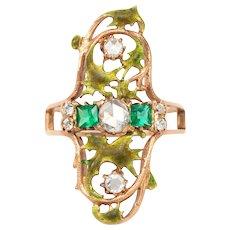 An Emerald and Diamond Art Nouveau  Ring