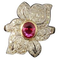 Ruby and Diamond Gold Flower Cocktail Ring