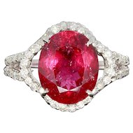 Tourmaline and Diamond Gold Cluster Ring