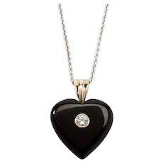 Onyx Diamond Heart Pendant with Chain