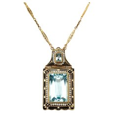 Double Aquamarine Gold Chain Pendant