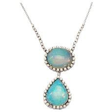 Double Opal Diamond Gold Pendant Necklace