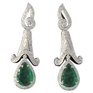 Beautiful Emerald and Diamond Earrings