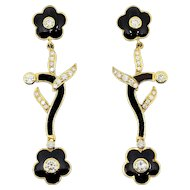 Onyx Diamond Gold Earrings