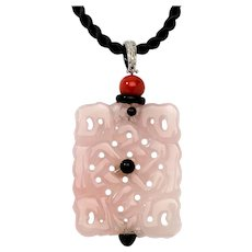 Carved Jade Pendant with Diamonds, Italy