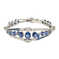 A Gorgeous Sapphire and Diamonds Bracelet