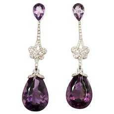 Handsome Amethyst and Diamond Pendant Earrings