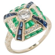 Emerald Sapphire Diamond Gold Cluster Ring