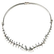 Fishbone Silver Necklace by Antonio Pineda
