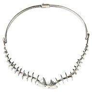Fishbone Silver Necklace by Antonio Pineda
