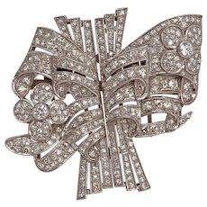 Art Deco Diamond Platinum Double Clip Brooch