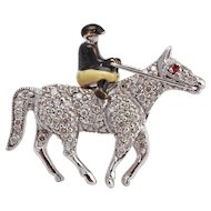 Rider on Horseback - Diamond Brooch