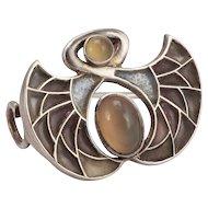 Art Nouveau Plique-a-Jour Silver Brooch by Heinrich Levinger