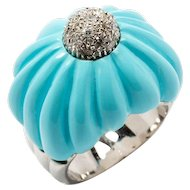 Turquoise Diamond Gold Dome Ring