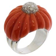 Mediterranean Coral and Diamond Gold Dome Ring