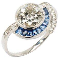 Platinum Ring with Diamonds and Sapphire