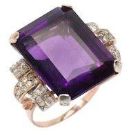 Large Amethyst Diamond Gold Ring
