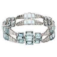 Aquamarine and Diamonds Gold Bracelet