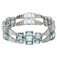 Aquamarine and Diamonds Gold Bracelet