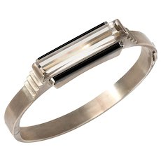 Art Deco Rock Crystal Gold Bangle