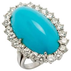 1950s Turquoise Diamond Gold Ring