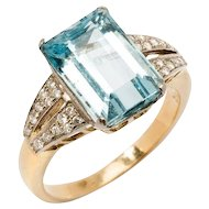 1930s Charming Aquamarine Diamond Gold Ring