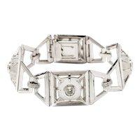 Rock Crystal and Diamond Gold Bracelet