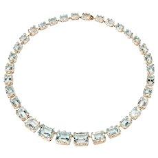 1930s Aquamarine Gold Necklace