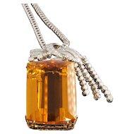 Magnificent Citrine Diamond Gold Pendant