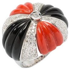 1970s Coral Onyx Diamond Dome Ring