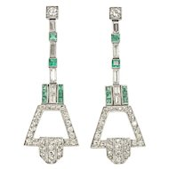 Art Deco Emerald Diamond Platinum Ear Pendants