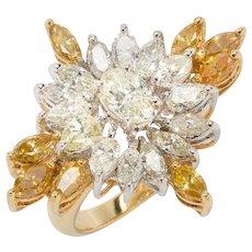 1970s Fancy Diamond Gold Ring