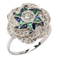 Sapphire Emerald Diamond Gold Ring