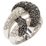 Black and White Diamond Gold Cluster Ring