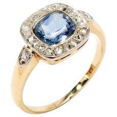 1920s Sapphire Diamond Gold Ring