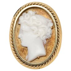 1950s Large Cameo Gold Ring