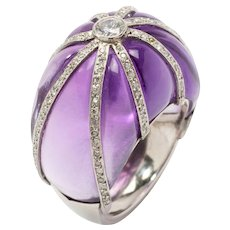 1960s Amethyst Diamond Platinum Dome Ring