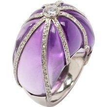 1960s Amethyst Diamond Platinum Dome Ring