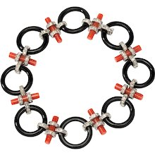 Coral and Onyx Bracelet with Diamonds