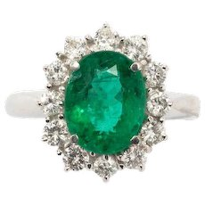 Emerald and Diamonds Cocktail Gold Ring