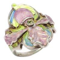 Art Nouveau Enamel Silver Ring