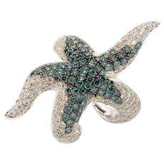 Diamond Gold Starfish Ring