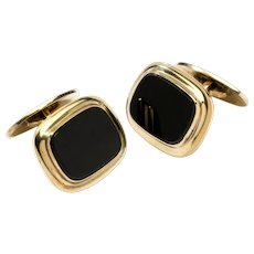 1930's Onyx Cufflinks, Silver Gold Plated, by Rusch